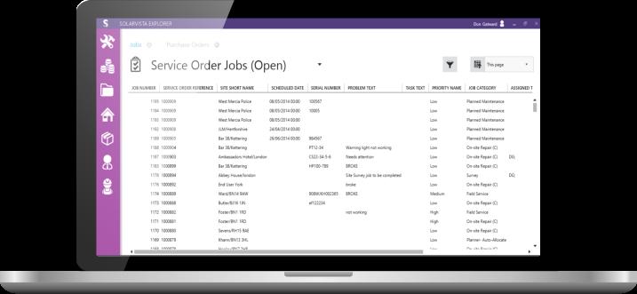 Service Management Software on Laptop